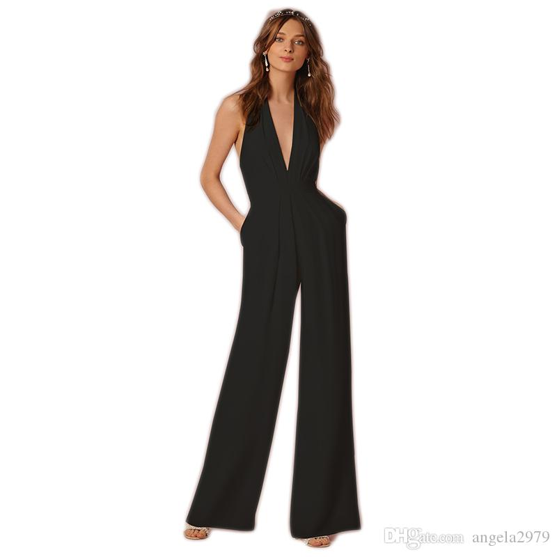 3fc173286e8ce Wide Leg Elegant Jumpsuits Black White Red V Neck Sleeveless Office  Jumpsuits OL Rompers Plus Size XXL Halter Maxi Overalls S207 From  Angela2979