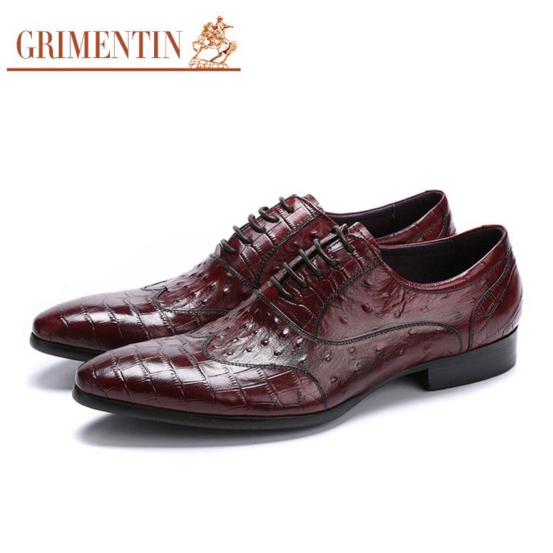 newest 8530d 4199e Grimentin Luxury Uomo Scarpe casual Scarpe basse basic in pelle nera Scarpe  eleganti stringate rosse 2018
