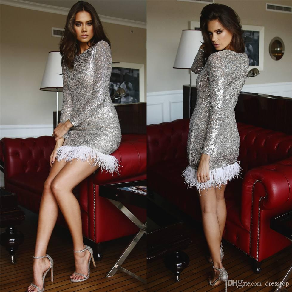 Sparkly Silver Cocktail Dresses With Long Sleeves Jewel Neck Sheath ...