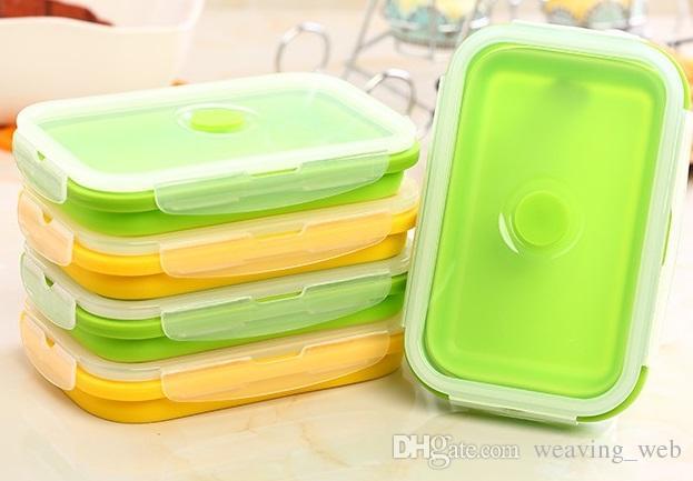 Silicone pieghevole Lunch Box 750ml portatile contenitore del pranzo di Bento della scatola il picnic o uso domestico