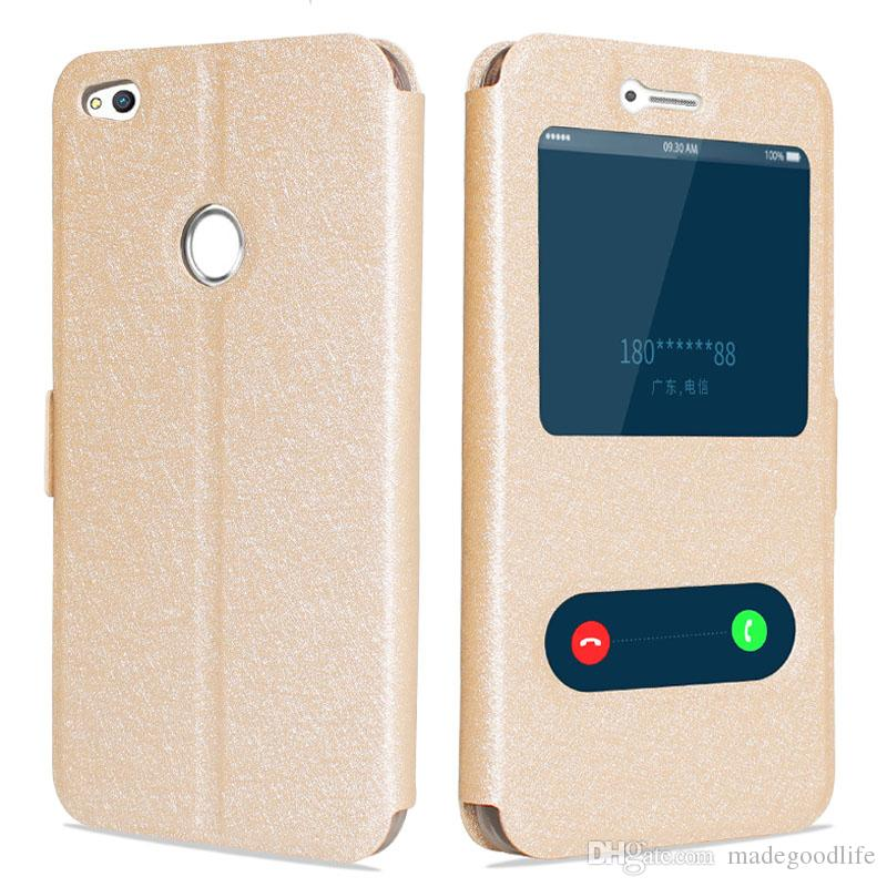 newest 1c22d 5442c New Magnetic Closed View Windows Flip Leather Case for Huawei Honor 8 Lite  Mobile Phone Coque folio Cover Fundas Caso Cas Bag