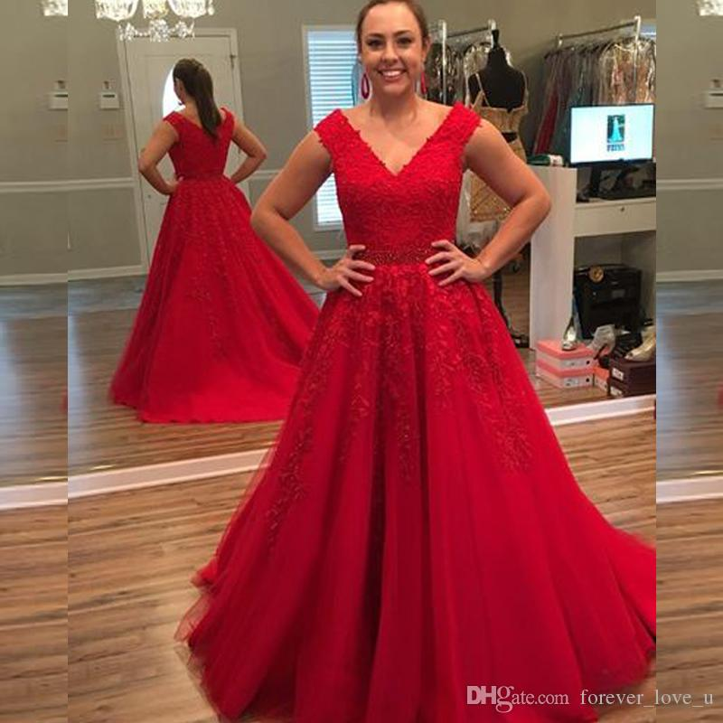 2b0fd2b49b0 Modest Red Prom Dresses A Line V Neck Sleeveless Lace Appliques Tulle  Evening Party Gowns Plus Size Formal Dress Beaded Waist Western Prom  Dresses Xscape ...