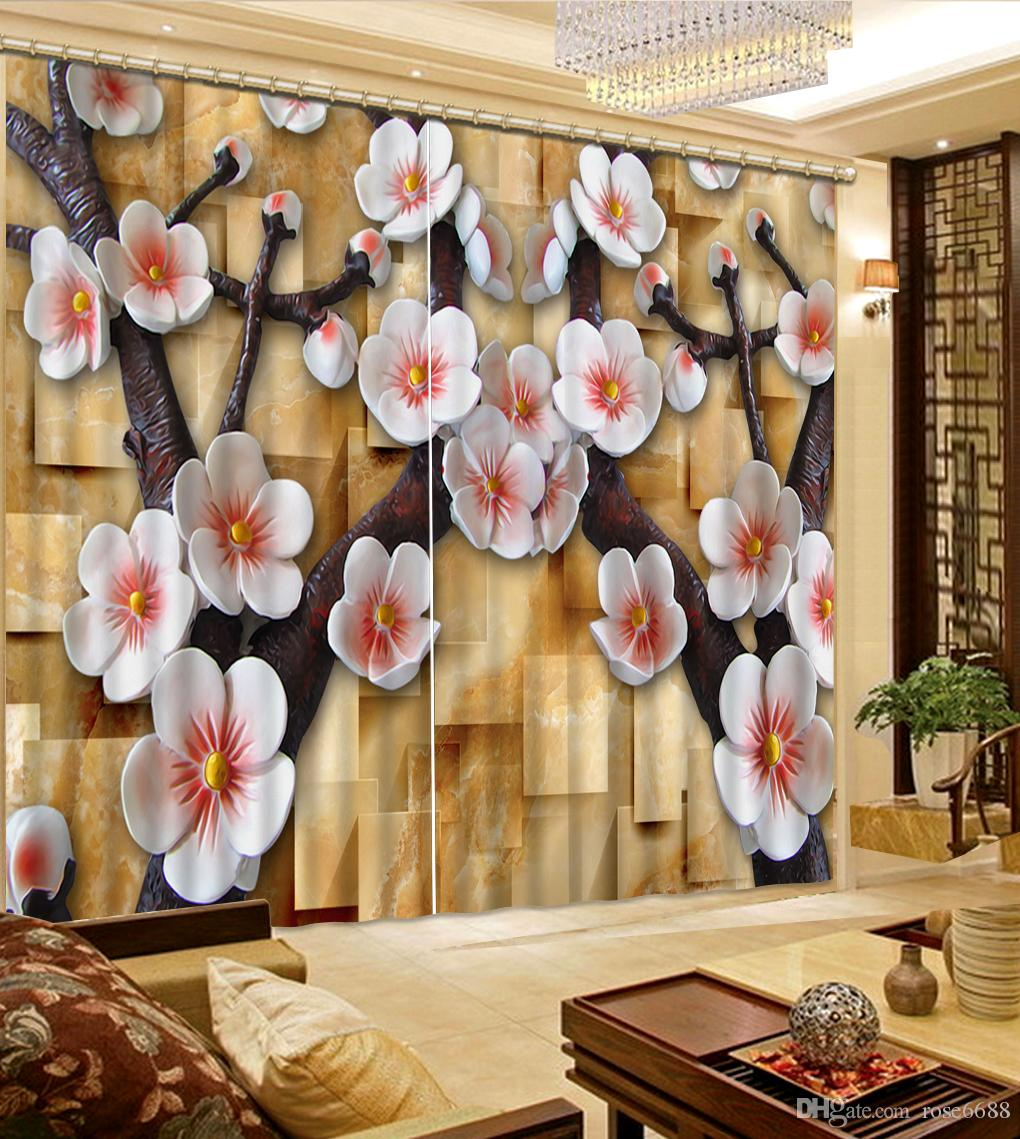 2017 Photo Customize Size Curtains For Living Room Relief Flower Roses Fashion Decor Home Decoration Bedroom Curtain From Rose6688