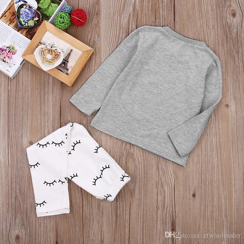 Bebé recién nacido ropa infantil Niños camisa de la muchacha de la ropa del otoño de los niños chándal niños pequeños Mono corto de manga larga Pantalones Pantalones Legging más cálidas