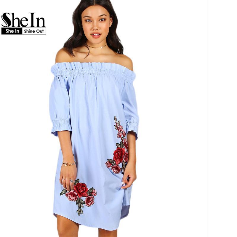 Wholesale SheIn Womens Dresses New Arrival 2017 Vintage Summer Dress Blue  Rose Patch Detail Off The Shoulder Knee Length Dress UK 2019 From Baimu 2954322f62