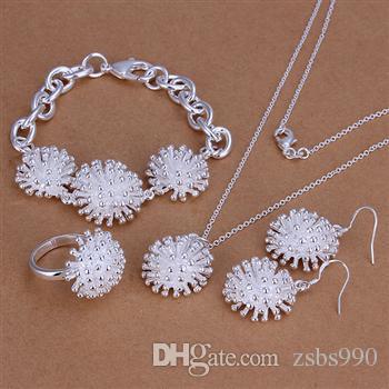 Mode smycken uppsättningar 925 silver halsband ring örhänge och armband charm fyrverkerier smycken för kvinnor billiga heta / parti