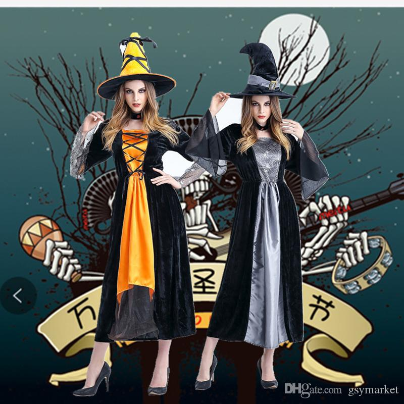 2017 Halloween Theme Costume Horror Witch Costume Cosplay Within Hat Long Sleeve Dress Free Size Orange Grey Themed Halloween Parties Simple Group Halloween ...  sc 1 st  DHgate.com & 2017 Halloween Theme Costume Horror Witch Costume Cosplay Within Hat ...