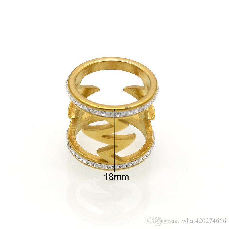 Women Wedding Band Electrocardiogram Rings 2017 Jewelry Gold Color Zircon Heart Beat Cocktail Stainless Steel Ring