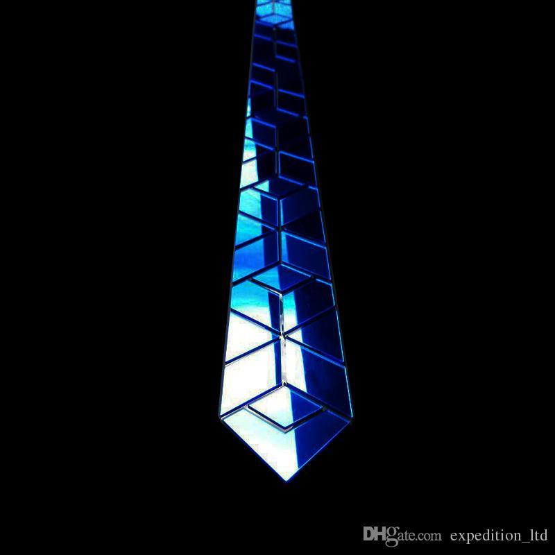 El yapımı Mavi Ayna Küçük Elmas Şekli Erkekler Boyun Tie Lüks El Yapımı Düğün aksesuarları