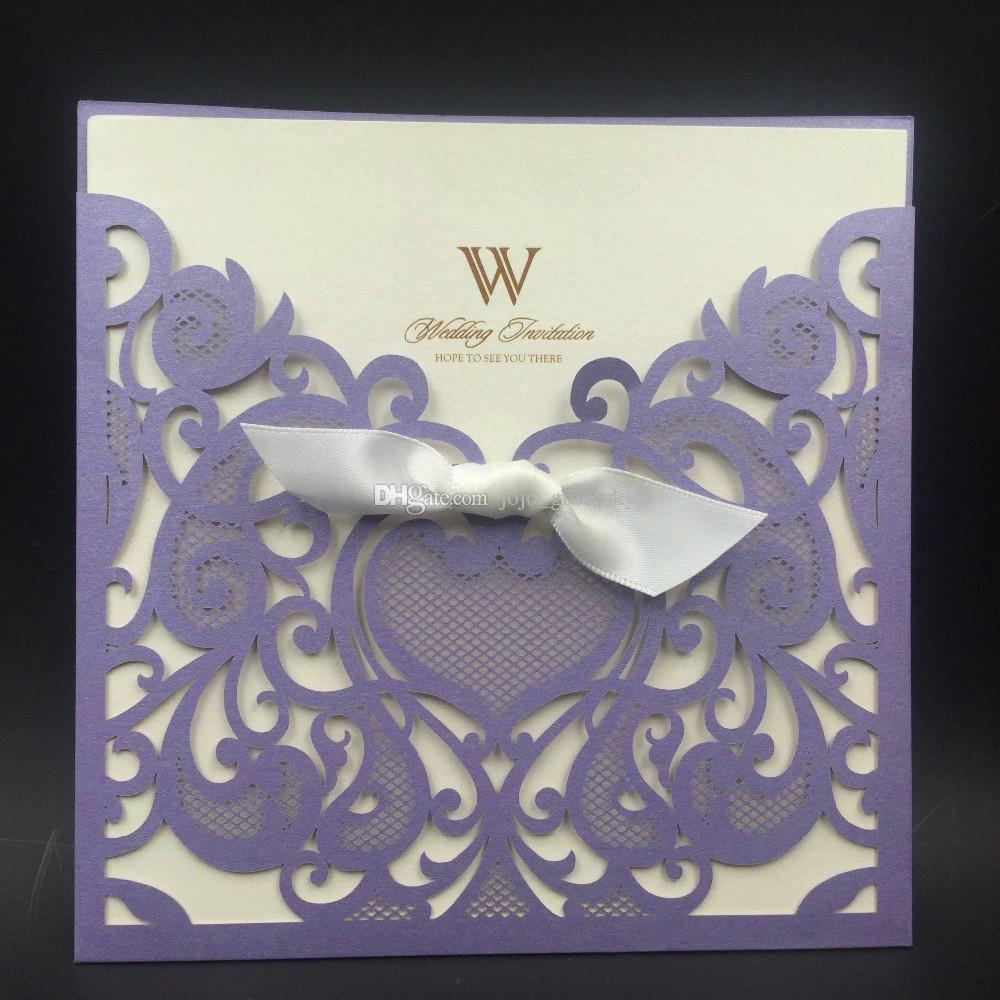 Royal Blue envío gratis invitación de la fiesta de boda tarjetas románticas sobres de bolsillo tarjeta de invitación de boda corte de láser cortado