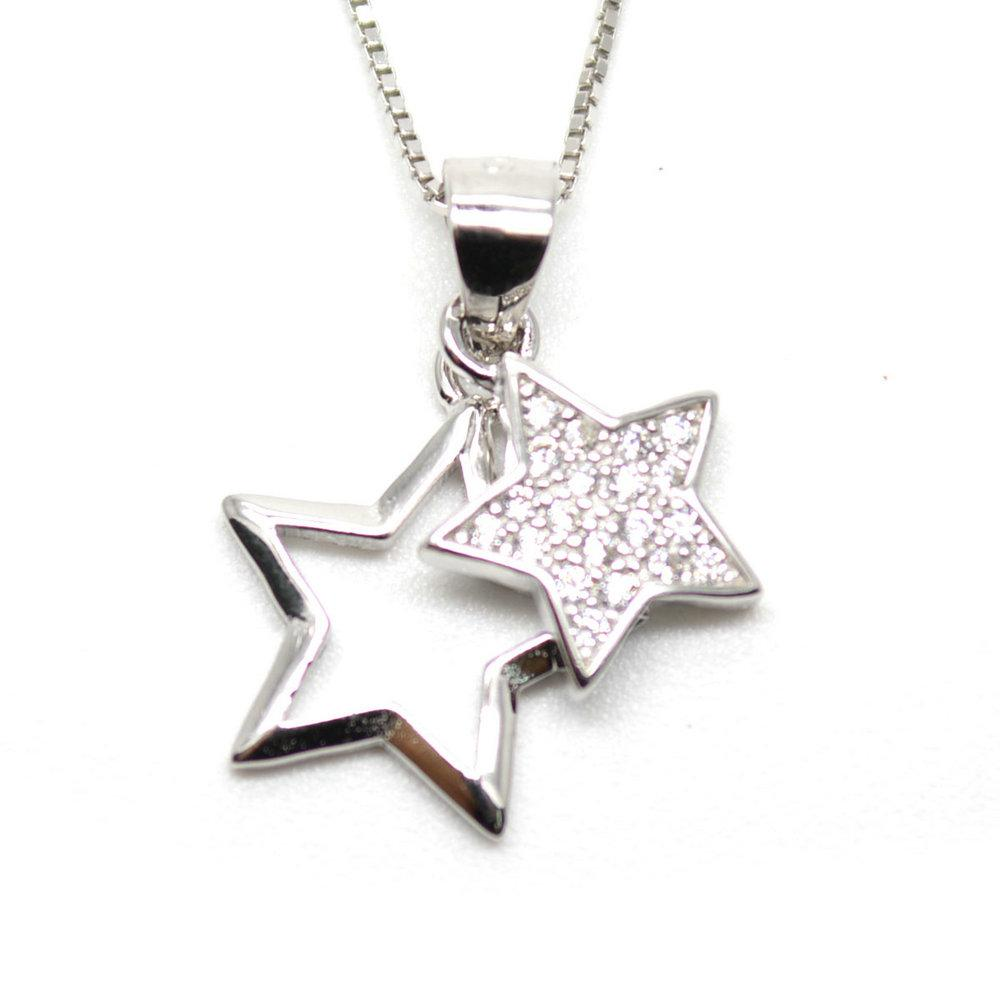 cubic pendants zircon real pendant product necklace necklaces shiny aaa design bargain women shape sterling jewels silver star orsa browse