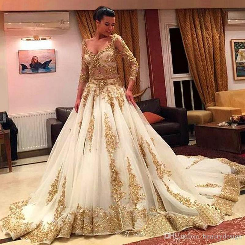 2017 Luxury Long Sleeve White Gold Prom Dresses With Long Train ...
