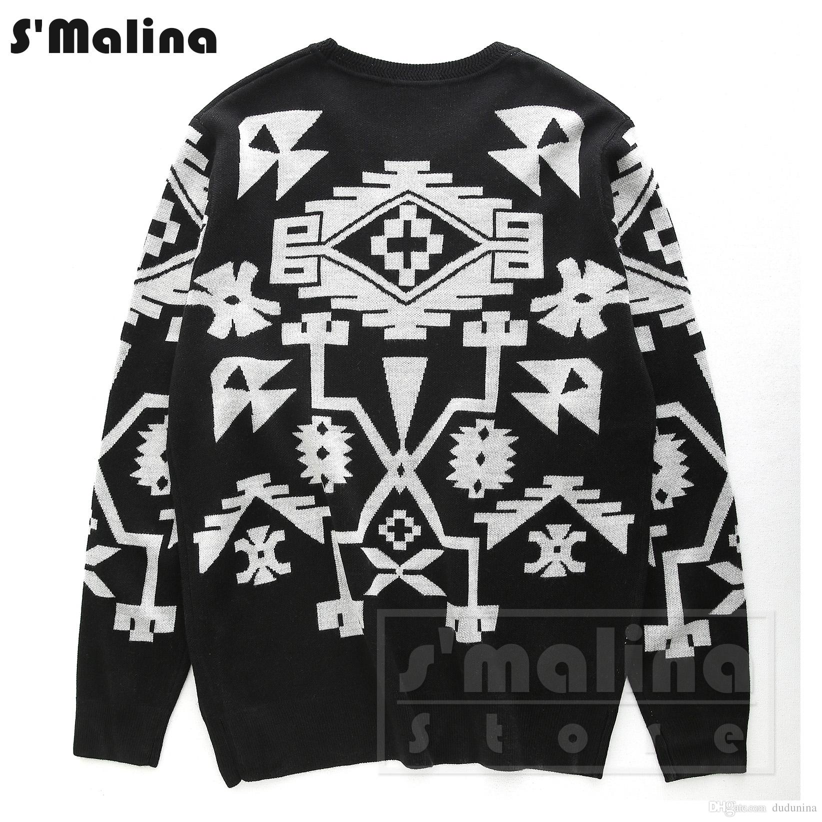 Men's Wool Sweater Black with White Geometric Patterns O Neck ...