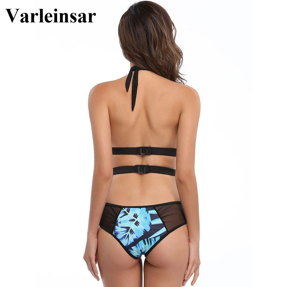 2017 sheer malha splicing sexy floral imprimir one piece swimsuit maiô para as mulheres swimwear feminino maiô swim wear V140H