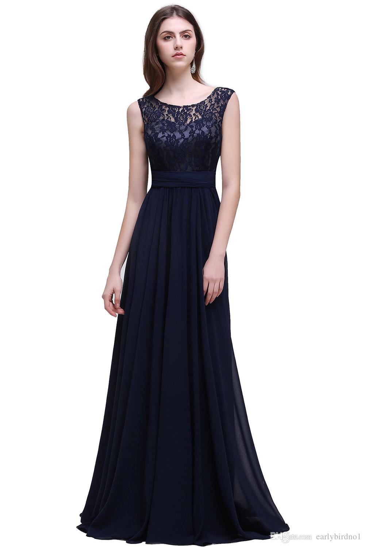 Neue Einfache Bescheidene Dark Navy Chiffon Brautjungfernkleider Plus Größe 2018 Günstige Scoop Sleeveless Eine Linie Formale Hochzeitsgäste Partei Tragen CPS526