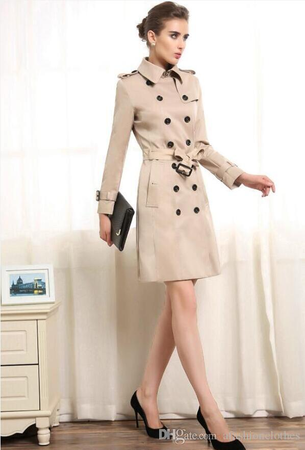 2018 Spring Coats Khaki Trench Coat For Women Fashion Female ...