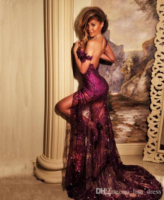 Atemberaubende Sexy Meerjungfrau Prom Kleider Schulterfrei Pailletten Appliques Open Backless Abendkleider 2017 Charming Front Split Formale Partykleid