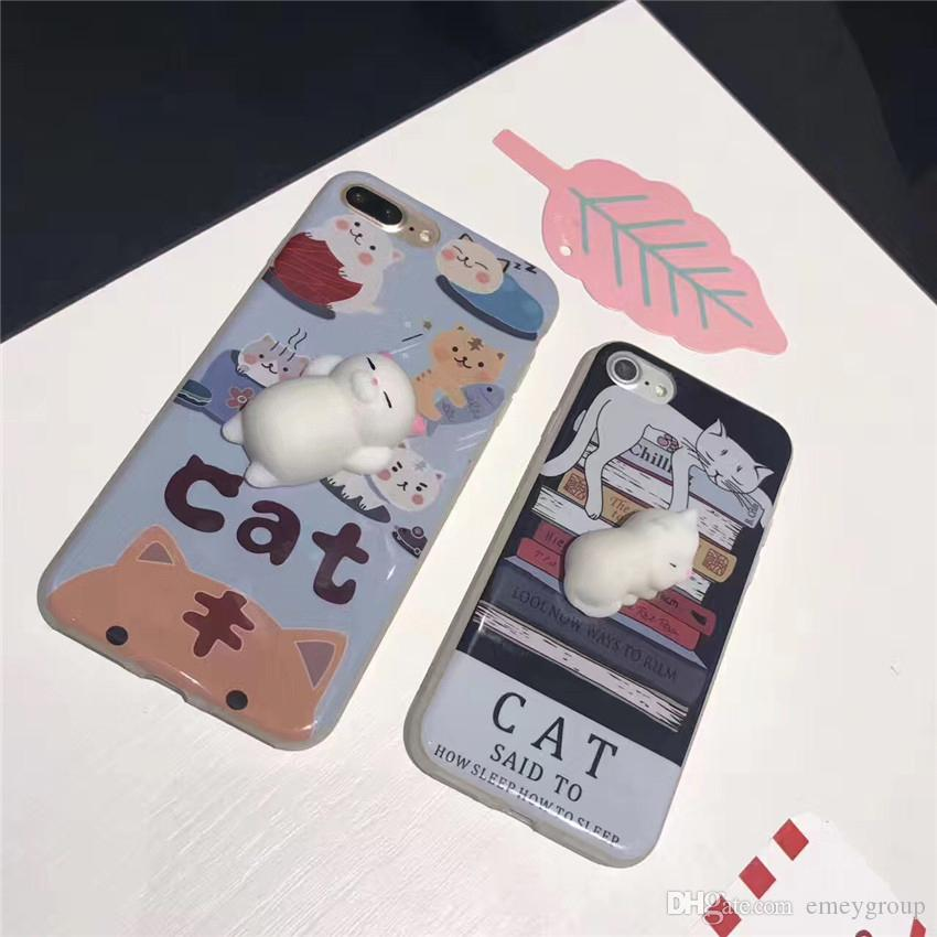 Phone Case for iPhone 6 6S 6 plus 3D Cute Soft Silicone Squishy Cat Fundas for iPhone 7 7 plus Cover Animal Sleeping Kitty Coque