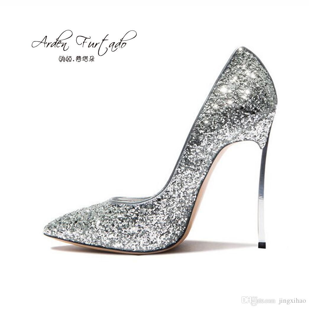 2565a7c0937 Arden Furtado 2017 New Style Party Wedding Shoes Woman High Heels Sexy Slip  On Stiletto Sequined Cloth Plus Size 12cm Red Black Silver Gold Womens Shoes  ...