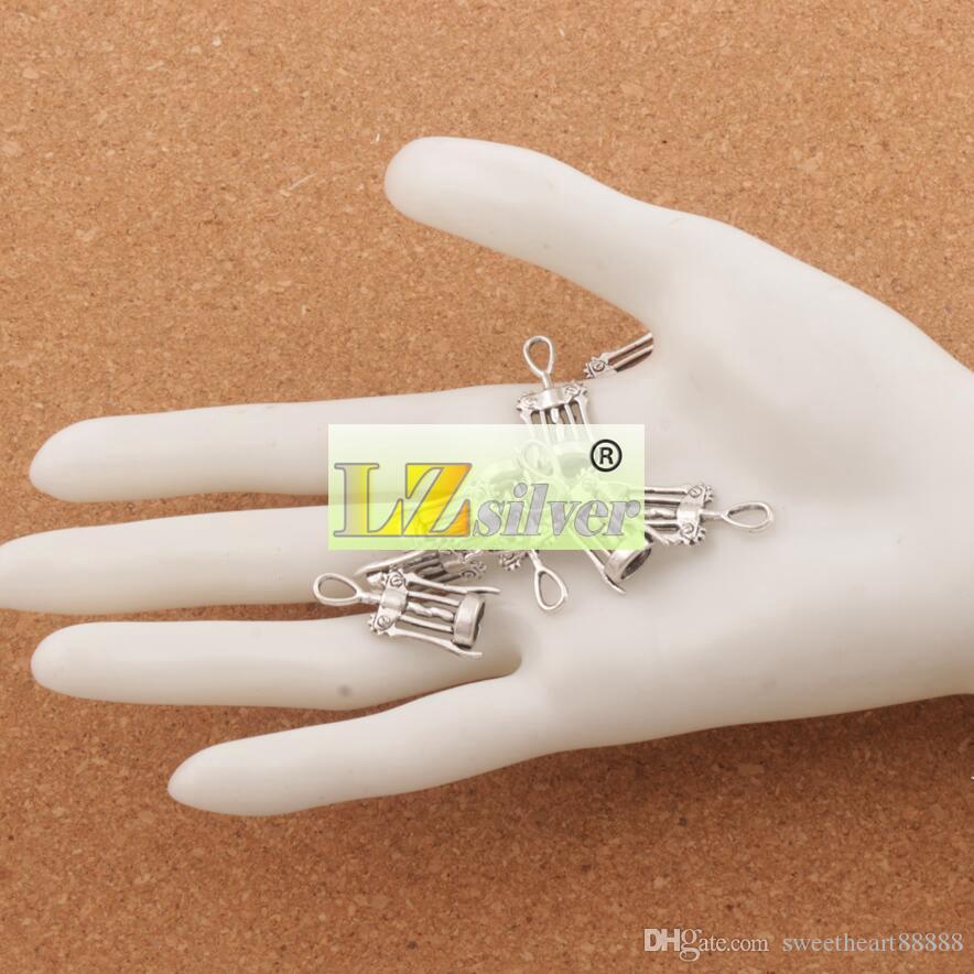 Vinkorkskruv Öppnare Charms / 27.3x11.3mm Antika Silver Hängsmycken Smycken DIY L285 Fit Halsband Armband