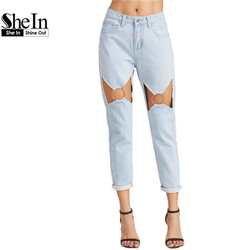 b4bab2c4cc 2019 Wholesale SheIn Boyfriend Jeans For Women Low Waist Womens Bleached  Jeans Blue Bleach Wash Cut Out O Ring Detail Straight Jeans From Cety, ...