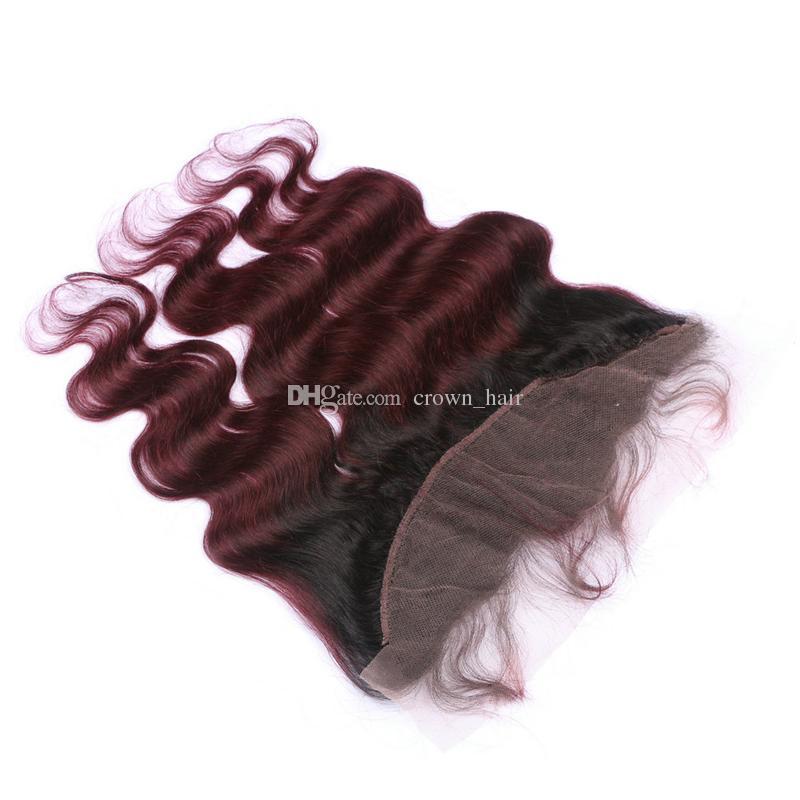 Dark Root Ombre 1b 99J Borgogna Borgogna Due toni Bandetti trama dei capelli umani con full frontali vino rosso Ombre Weaves con chiusura frontale