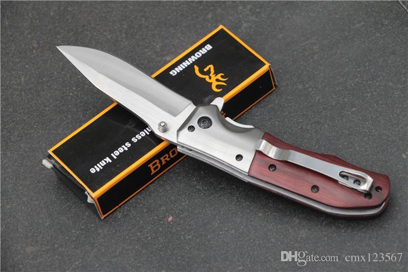 Browning DA51 Pieghevole Coltello da Caccia 440C Lama Sopravvivenza Coltelli da tasca veloce aperto Campeggio Multi Strumenti Con Manico di Sequoia di alta qualità