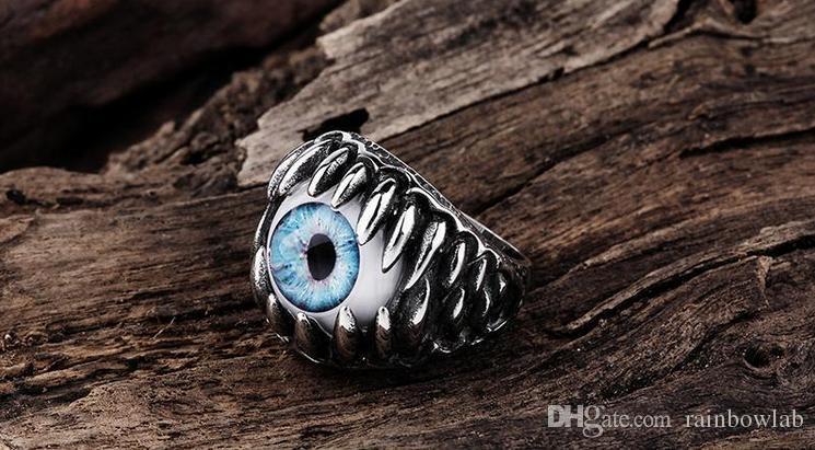 Toptan Antik Maya Titanyum Paslanmaz Çelik Şeytan Erkek Gözü Yüzük Band Düğün Hediye Boyutu 8-11