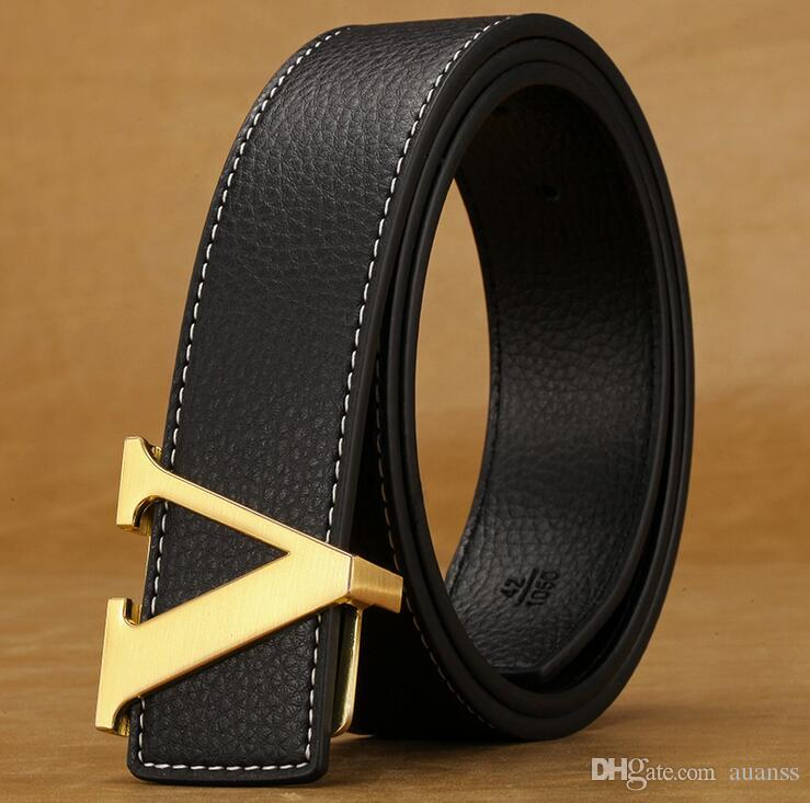 Men'S Leather Belt V Buckle Belts Smooth Letter Teenagers
