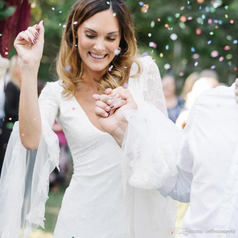 Dantel Derin V Boyun Plaj Boho Düğün Dresse Uzun Kollu Kurdele ile Aç Geri vestidos de novia Bohemian Gelin Kıyafeti Ülke Gelin Elbise