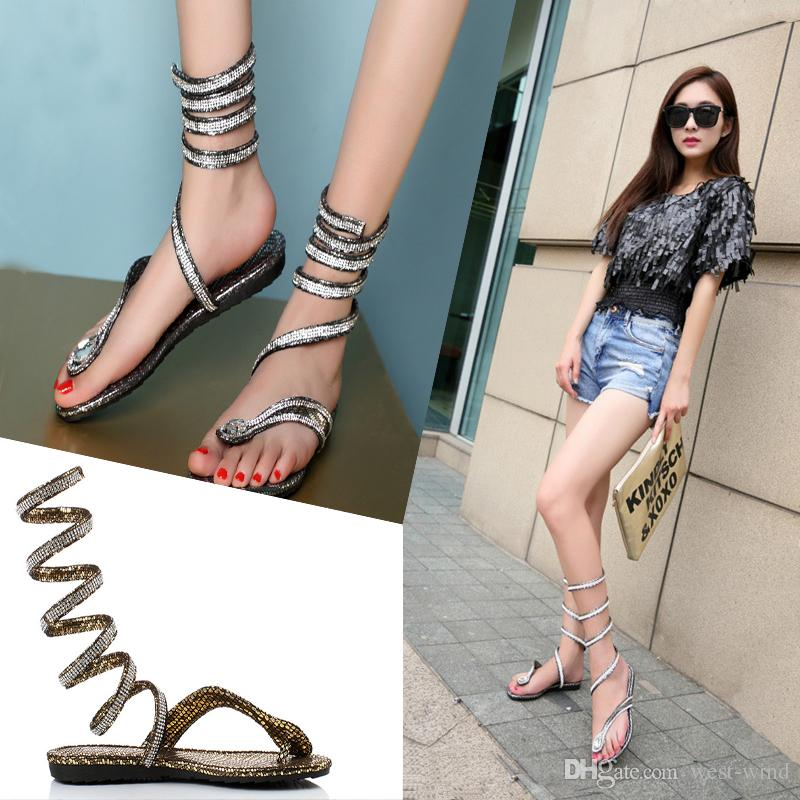 ee7fefa5f8a Wrap Around Womens Sandals Lace Up Roman Gladiator Summer Style Women S Knee  Crystal Rhinestone Lace Up Surround Sandals C56Q Walking Sandals Sandals  From ...