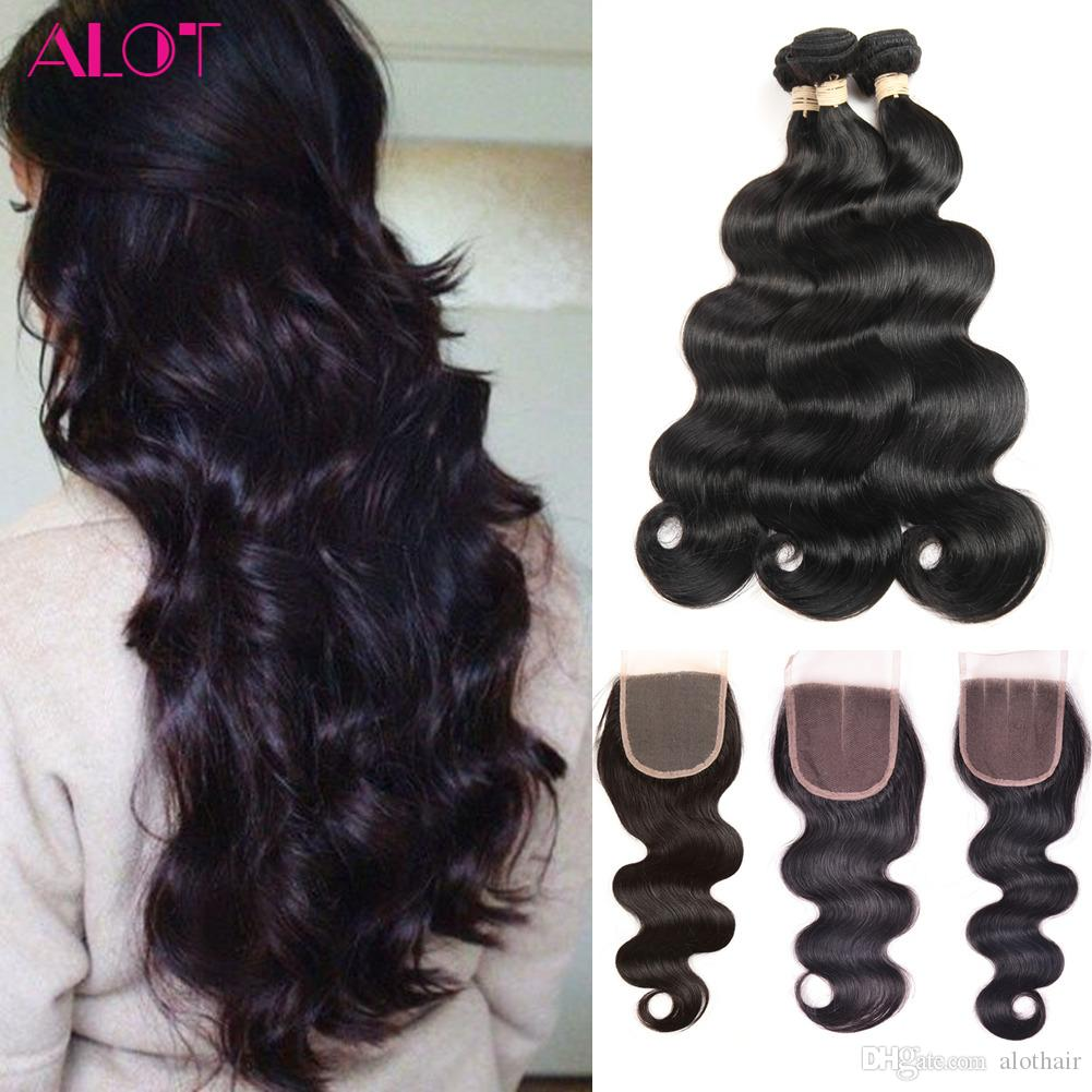 8A Grade Brazilian Virgin Human Hair Bundles Body Wave 3 Bundles with 4x4 Closure Unprocessed Remy Human Hair Extensions