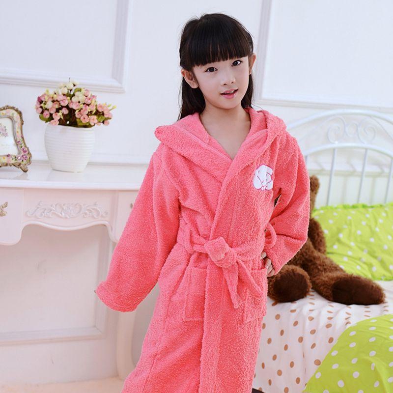 9b34baa35c7c Children Bathrobe Baby Cotton Hooded Winter Towel Fleece Cartoon Cap ...
