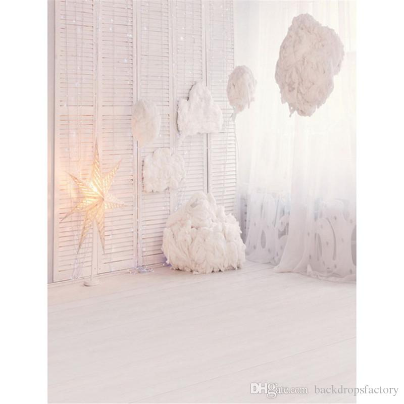 2018 Custom Baby Shower Photography Backdrop Wood Floor Glitter Star Pure White Curtain Window Indoor Backgrounds For Photo Studio From Backdropsfactory