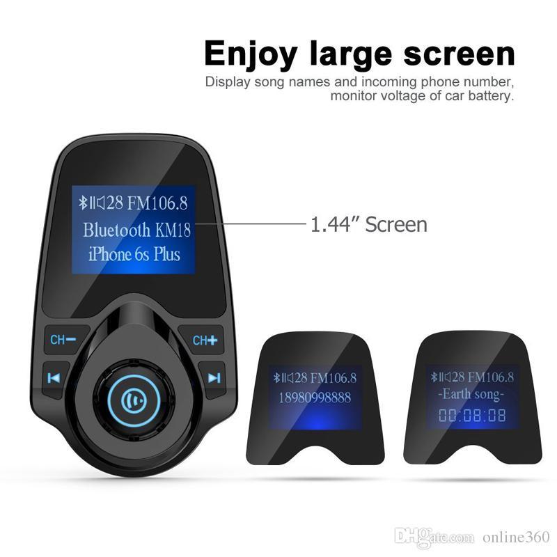 Kit caricabatterie vivavoce auto Bluetooth senza fili auto T10 Mp3 Bluetooth Player con slot schede TF 1.44
