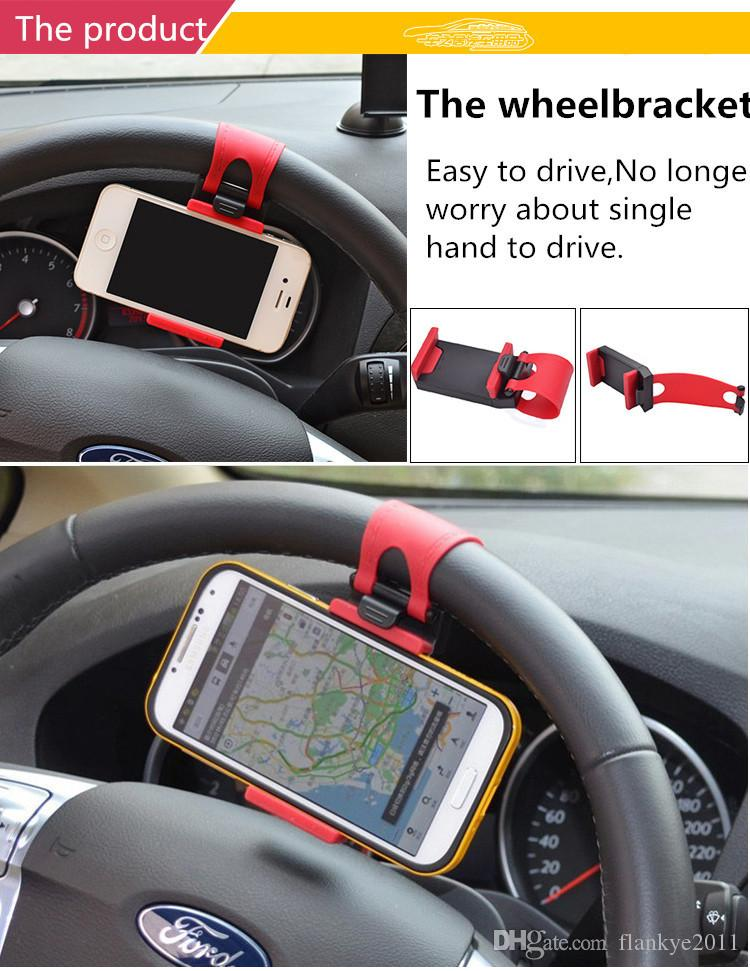 Universal Mobile Phone Holder Car Steering Wheel Clip Car Phone Holder For Smartphone By DHL