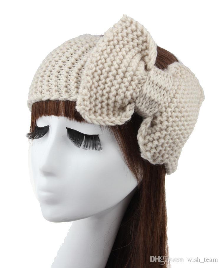 Nuevo Algodón Crochet Bow Diadema Turbante Ear Warmer Invierno Mujeres Turbante Head Wrap Accesorios para el cabello es