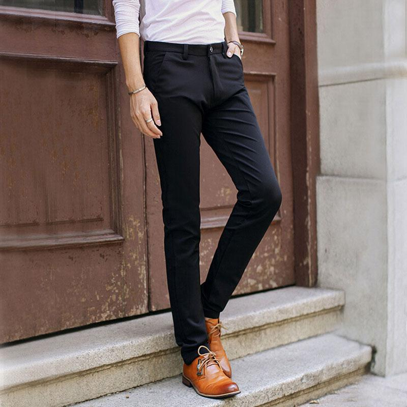 fbf17e592401 Wholesale- 2016 Fashion Men's Skinny Suit Pants New Casual Designer Slim  Fit Pants Man Work Formal Dress Pants Male Black Long Trousers