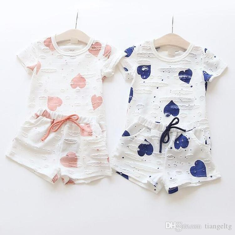 Girls Clothing Sets Summer Heart Printed T Shirt+Short Pants Kids Children's Clothing Suits 1 lot=1set=2pieces Cotton