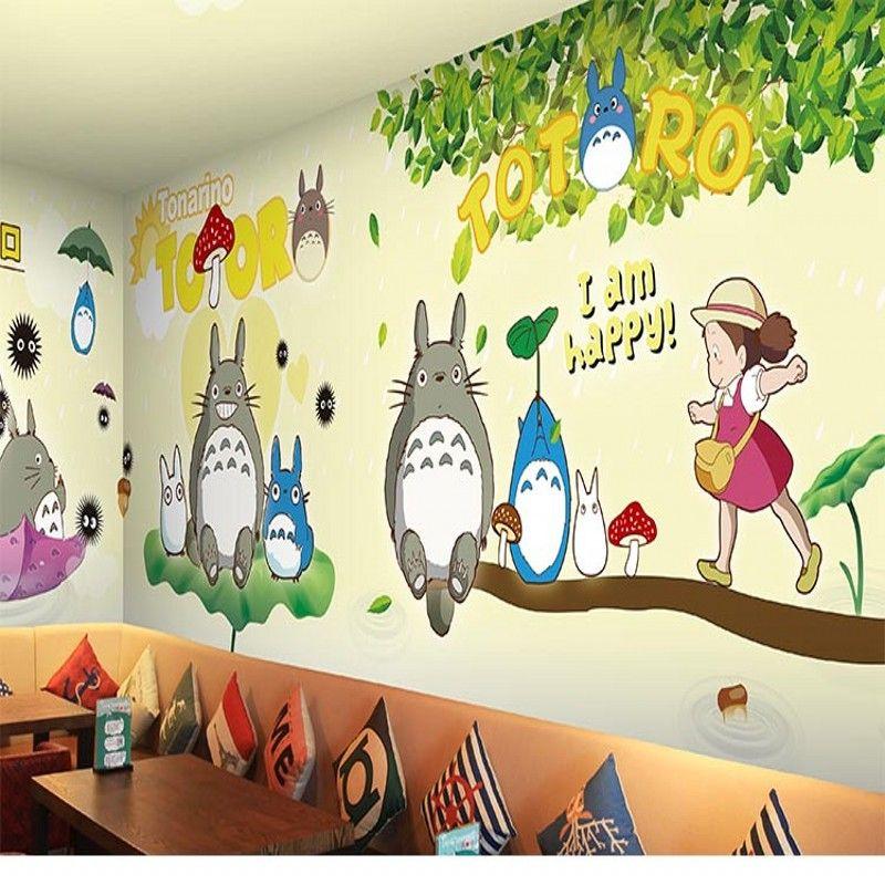 3d Stereo Custom Totoro Mural Hayao Miyazaki Cartoon Wallpaper Theme ...