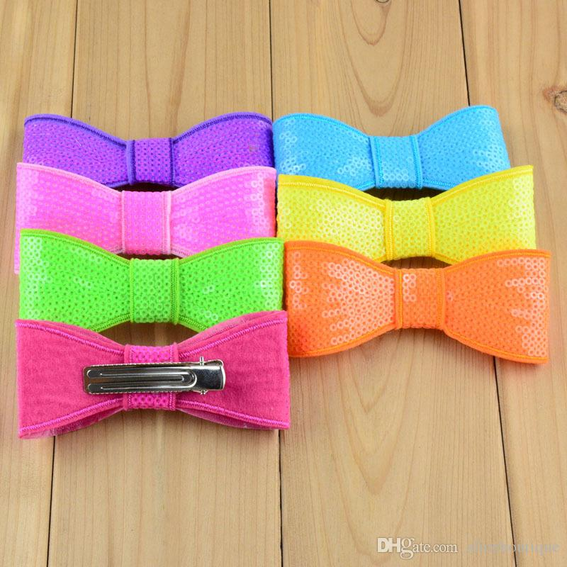 free shipping 32pcs/lot Hot New Big Sequin Bows Neon Colors Top Quality Shinny Sheet Bowknots For Baby Girl Beautiful Hair Clip H0155