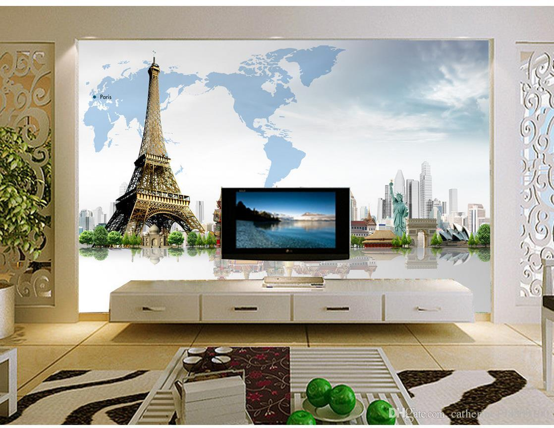 Creative 3D Architecture World Map Mural Eiffel Tower wallpaper for walls 3 d for living room