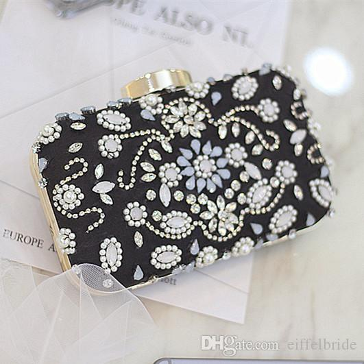 Luxury Beaded Crystal Handbags 2017 Mini Black Flap With Two Short And Long Chain Bridal Evening Brides Wallets Handbags Clutches Purse