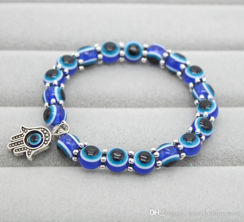 Moda 8mm Resina Beads Pulseira Do Vintage Boêmio Olhos Azuis Fatima Mão Hamsa Stretch Elastic Mens Pulseira