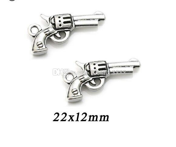 Antique Silver Plated Gun Charms Pendants for Jewelry Findings Making Accessories DIY Handmade 22x12mm