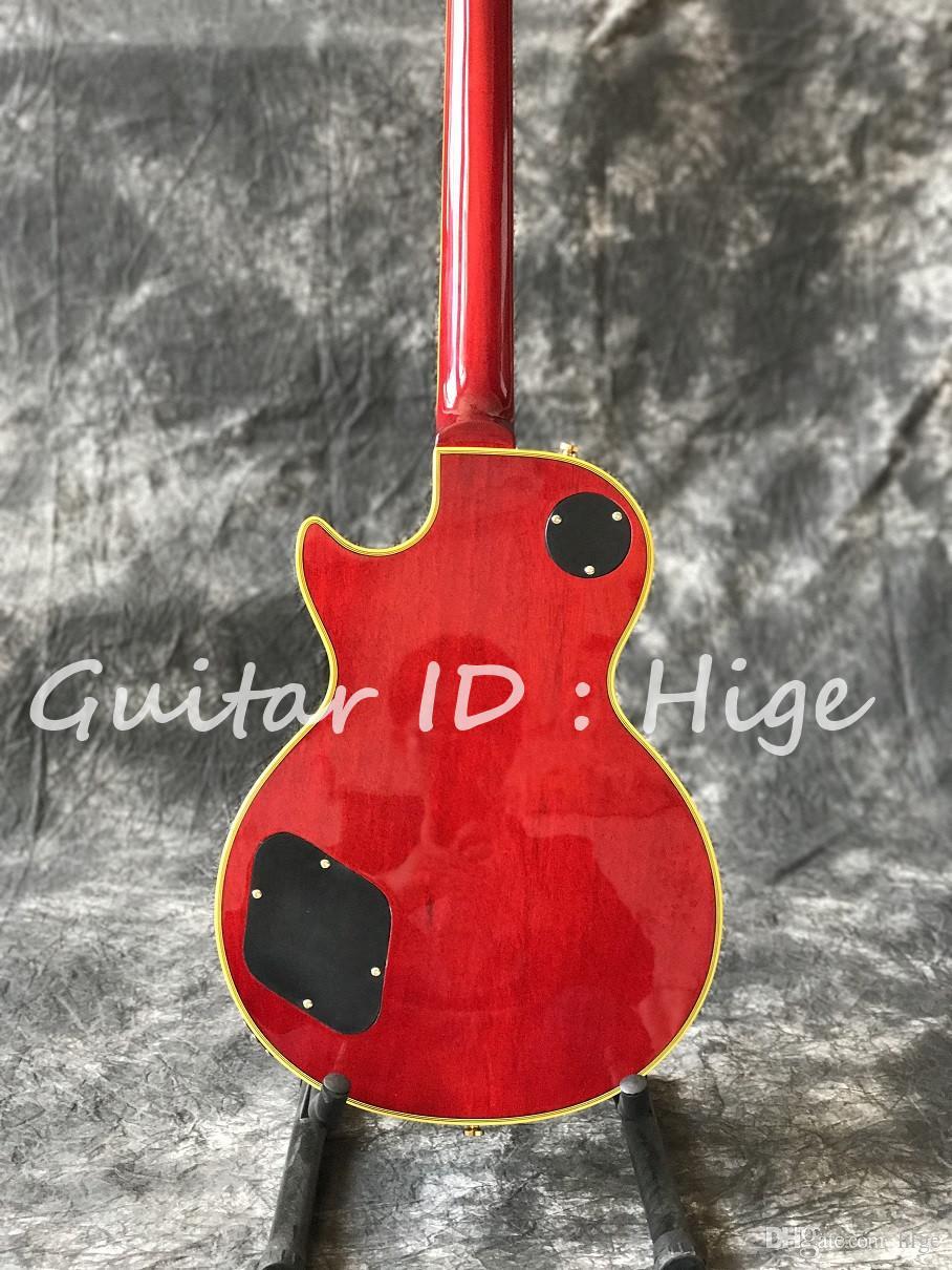 La venta caliente Cherry estalló la guitarra eléctrica del color con hardware del color del oro y bingdings amarillos del color, shippinguitarra rápido