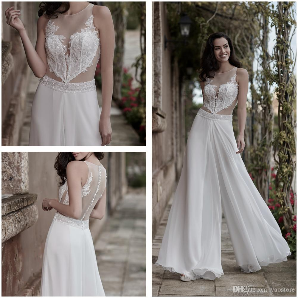 5e2346bfbfc5 Discount Ines Di Santo Corded Lace Jumpsuit Wedding Dresses Beaded  Waistband 2017 Sequins See Through Bodice Chiffon Beach Bridal Gowns  Backless Strapless A ...
