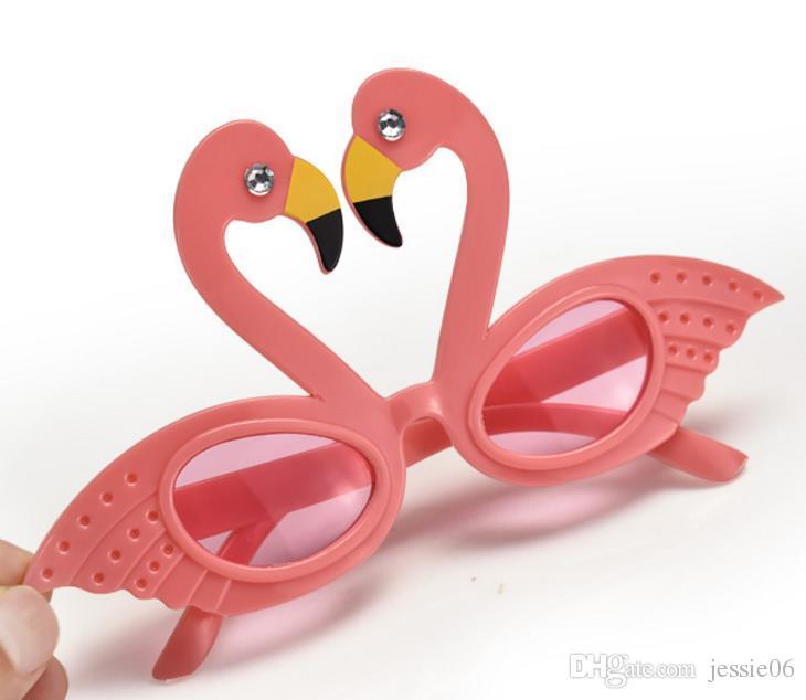 Flamingo Cocktail Hawaiian Novelty Sunglasses Fancy Dress Tropical Beach Glasses Wedding Birthday Hen Party Favor Pink Glitter