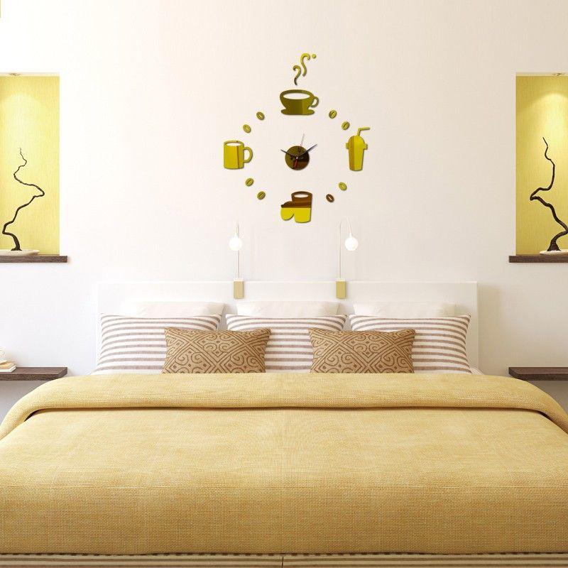 Wholesale Coffee Cups Kitchen Wall Art Mirror Clock Modern Design ...