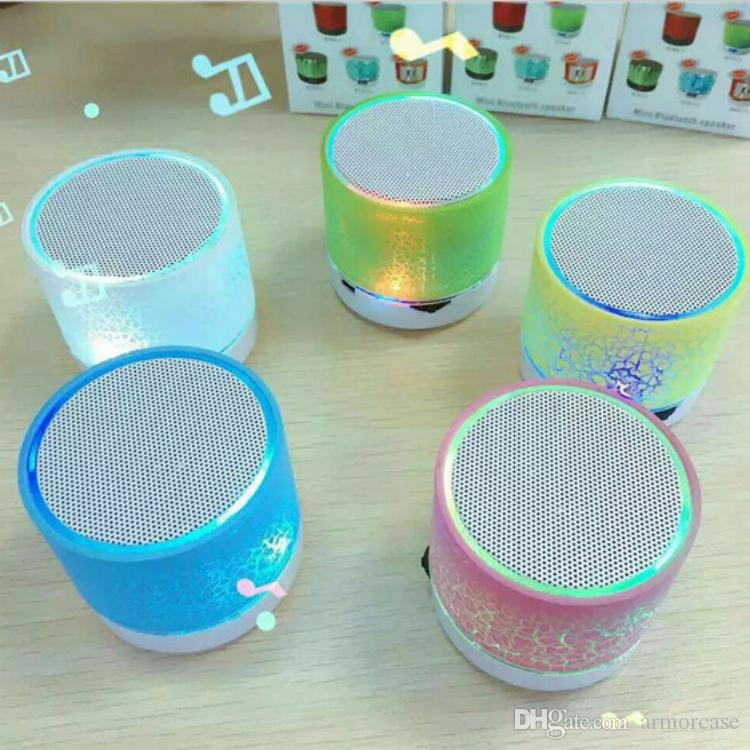 bluetooth mini speaker crackle texture protable Bluetooth Speaker LED light  Wireless Mini Bluetooth Speaker inserting U for PC phone MP3
